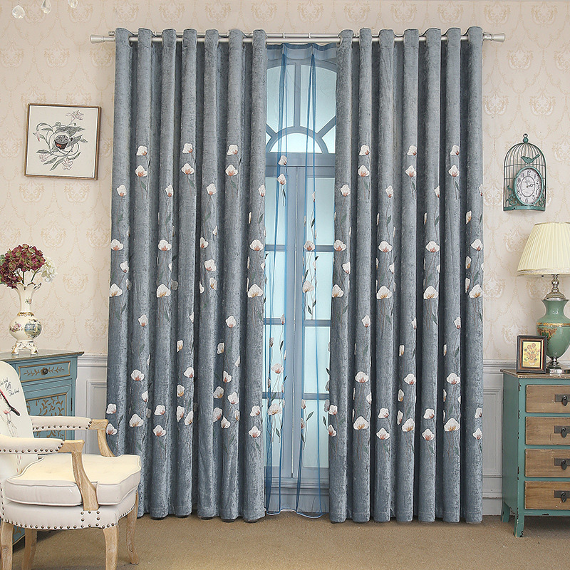 Modern Pastoral Floral Embroidered Blackout Window Curtains Custom 2 Panels Chenille Drapes for Living Room No Pilling No Fading No off-lining