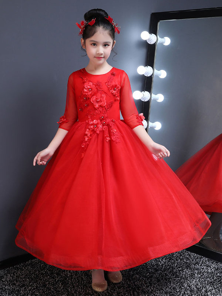 Milanoo Red Flower Girl Dresses Lace Applique Beaded Half Sleeve Tulle Ankle Length Kids Formal Party Dresses