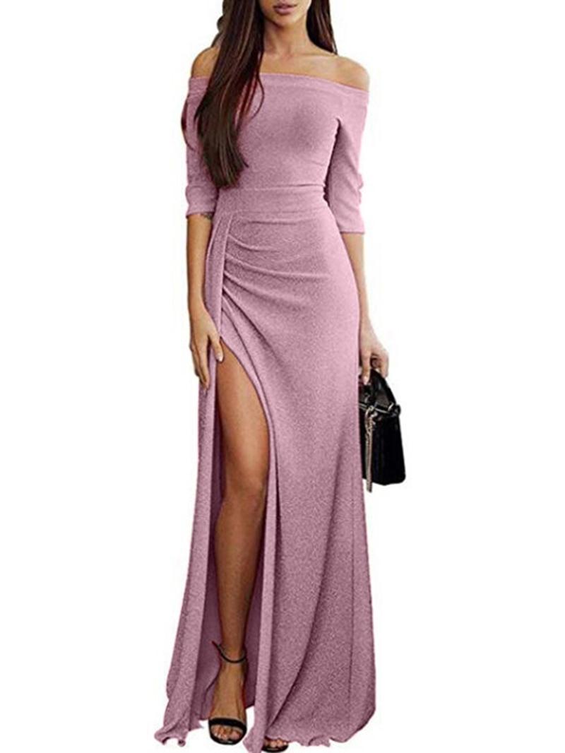 Ericdress Half Sleeve Split Floor-Length Standard-Waist Plain Dress