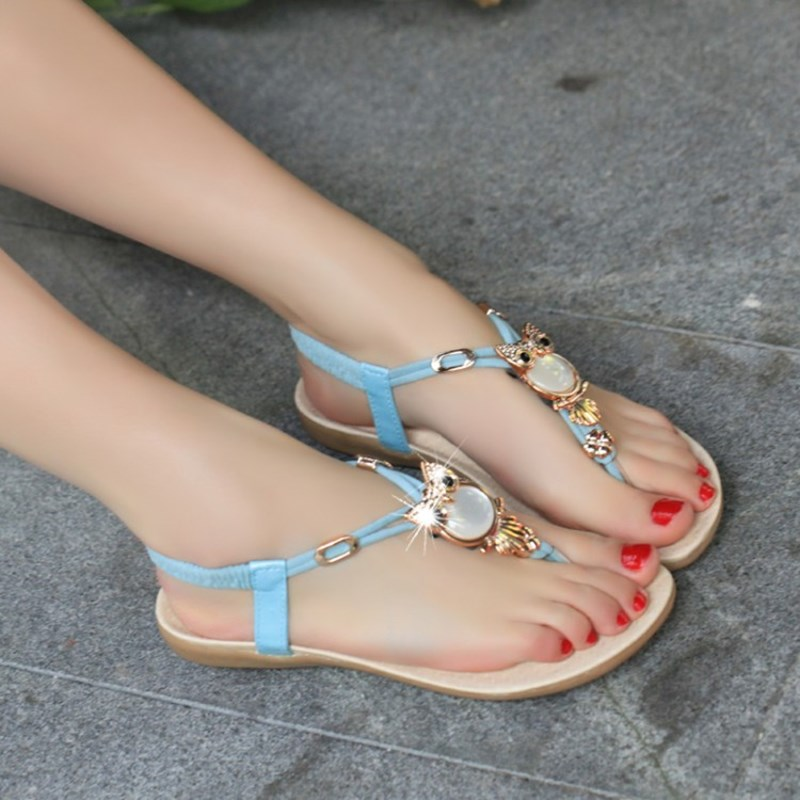 Ericdess Simple Metal Decoration Flat Sandals