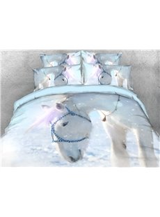 White Horse Soft Warm Duvet Cover Set 4-Piece 3D Animal Bedding Set