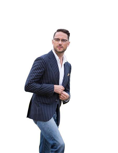 Men's Notch Lapel Blue ~ White Two Button Single Breasted Suit