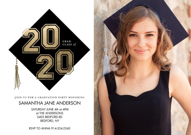 2020 Graduation Invitations 5x7 Cards, Premium Cardstock 120lb with Scalloped Corners, Card & Stationery -Grad Party Class of 2020 Cap by Tumbalina