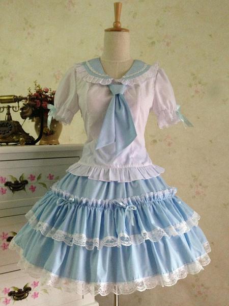 Milanoo Sweet Lolita Outfit Sailor 2 Piece Set Light Blue Cotton Skirt With Shirt