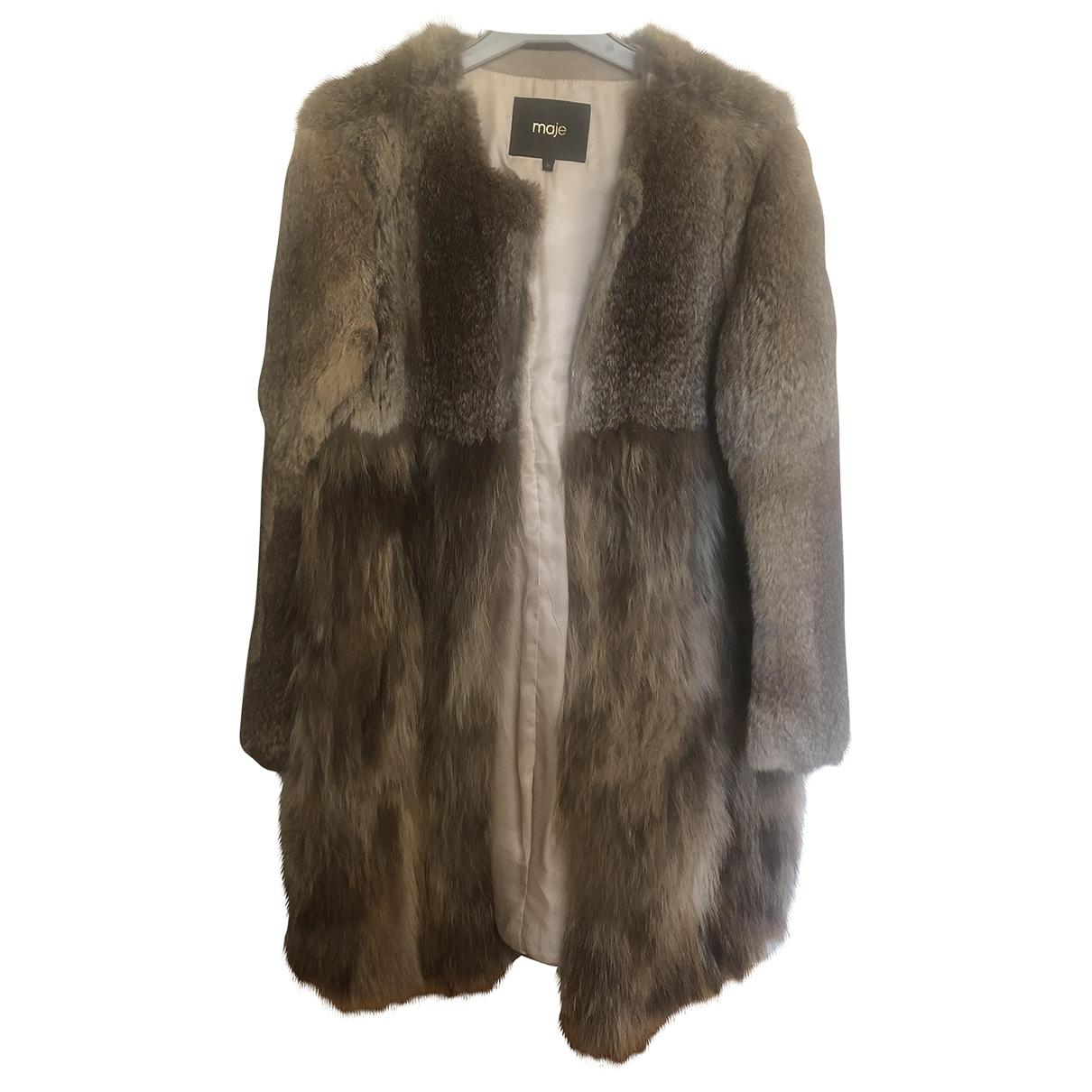 Maje \N Beige Rabbit coat for Women 36 FR