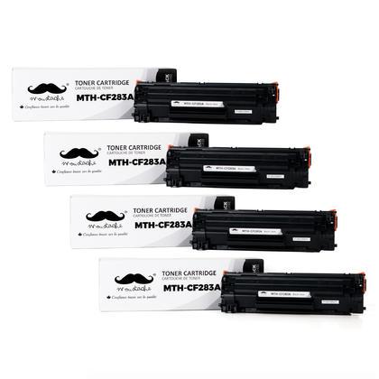 Compatible HP 83A CF283A cartouche de toner LaserJet noir de Moustache , 4 Paquet