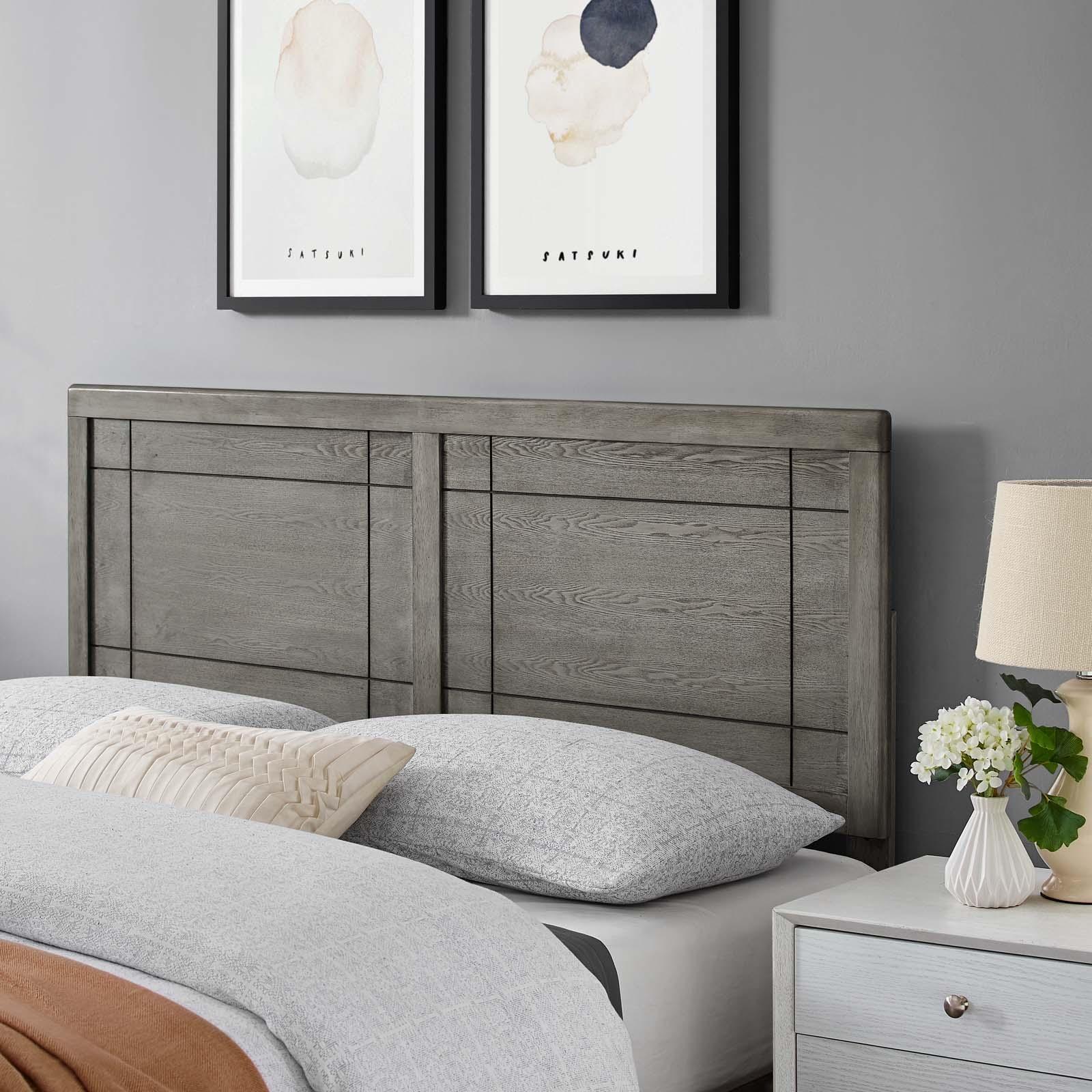 Archie Queen Wood Headboard in Gray