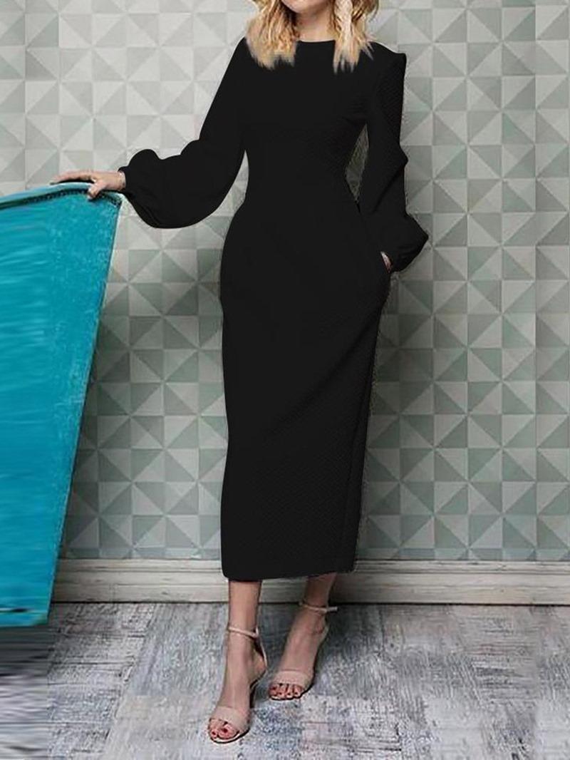 Ericdress Long Sleeve Ankle-Length Round Neck A-Line Lantern Sleeve Dress