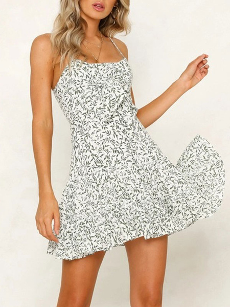 Milanoo Summer Dress Ditsy Floral Print Cotton Beach Slip Dress