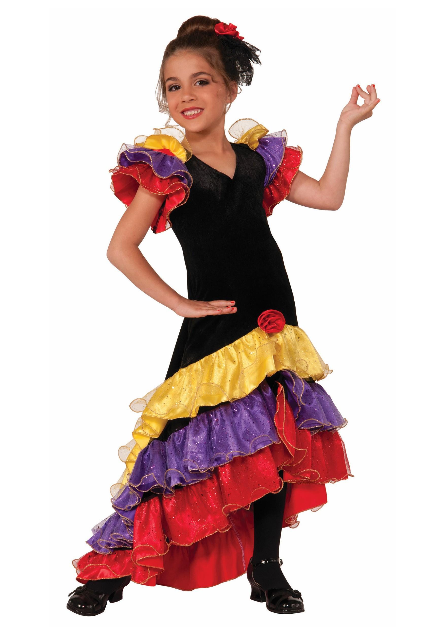 Girls Flamenco Dancer Costume
