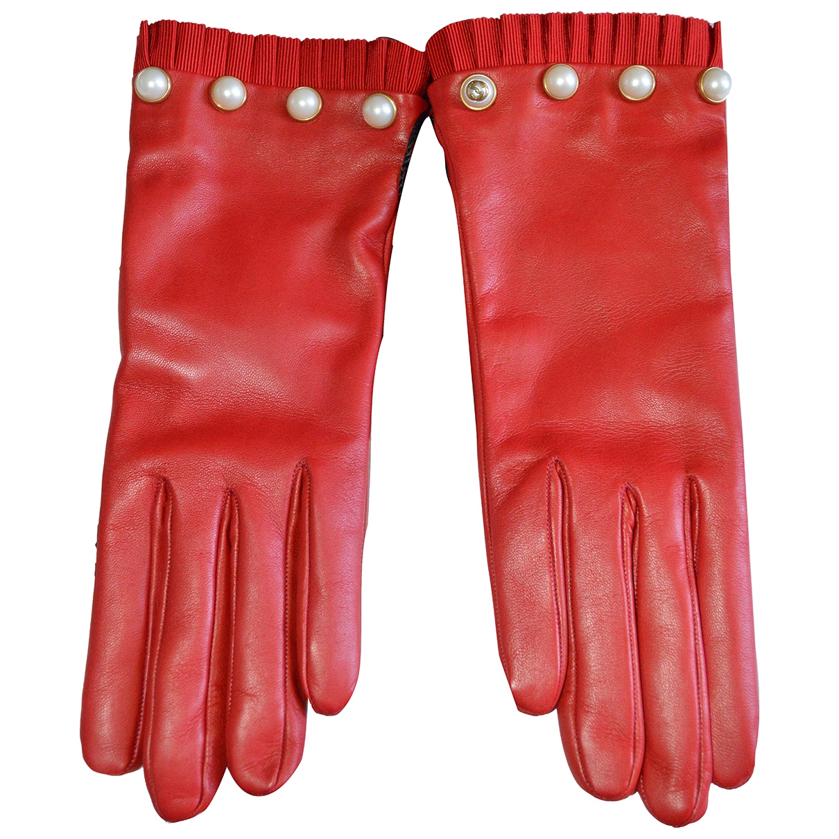 Gucci \N Red Leather Gloves for Women L International
