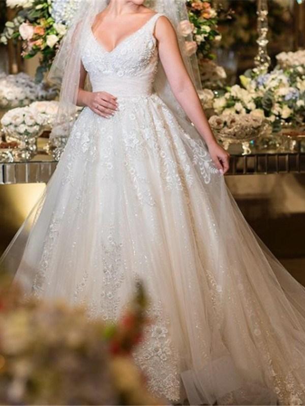 Ericdress Straps Floral Appliques Wedding Dress