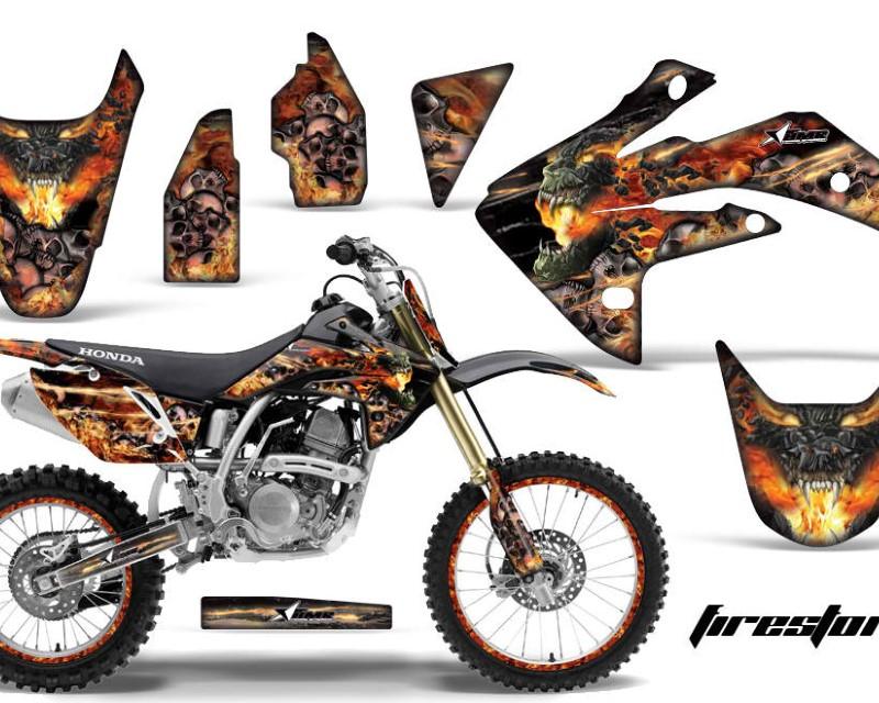 AMR Racing Graphics MX-NP-HON-CRF150R-07-16-FS K Kit Decal Sticker Wrap + # Plates For Honda CRF150R 2007-2016áFIRESTORM BLACK