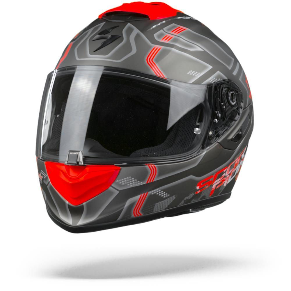 Scorpion EXO-1400 Air Spatium Mate Casco Integral Plateado Rojo  XL