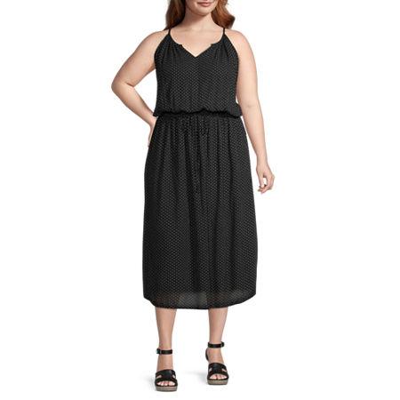 a.n.a-Plus Sleeveless Floral Midi Sheath Dress, 1x , Black