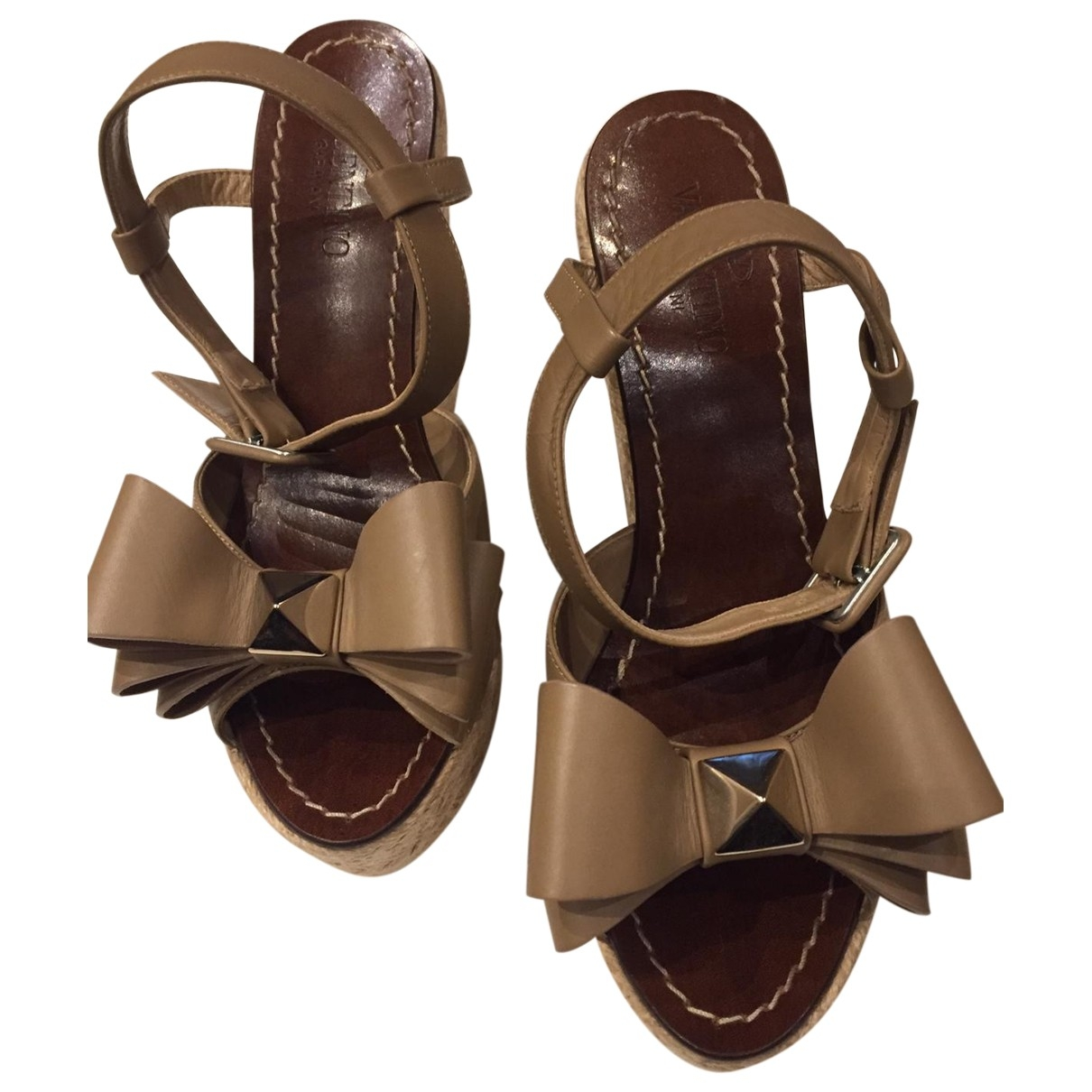 Valentino Garavani \N Beige Leather Sandals for Women 36.5 EU