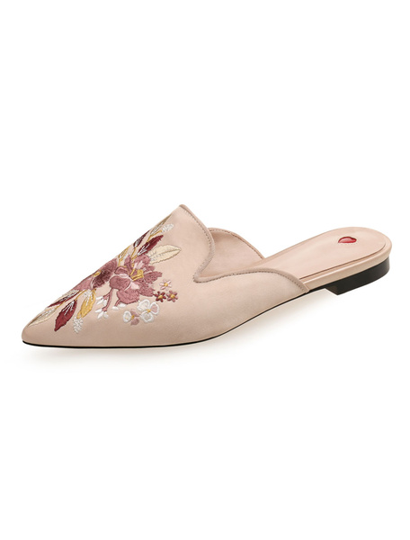 Milanoo Pink Mules Shoes Satin Pointed Toe Floral Embroidered Backless Flat Mule Shoes