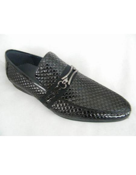 Mens Snake Print Leather Black Shoe