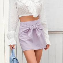 Knot Front Solid Straight Mini Skirt