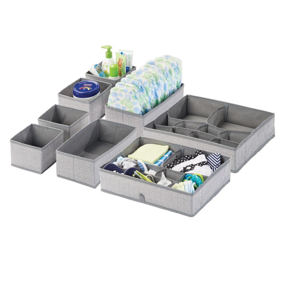 Baby + Kids Fabric Dresser Drawer Storage Organizer in Gray, Set of 8, by mDesign