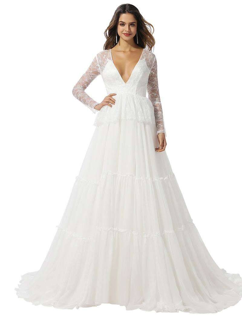 Ericdress Sweep/Brush Tiered A-Line Floor-Length Church Wedding Dress 2020