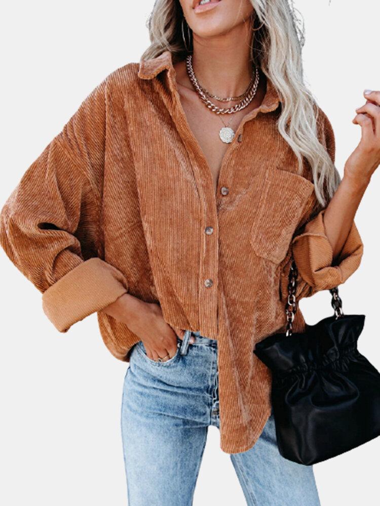 Vintage Corduroy Solid Color Jacket Long Sleeve Ribbed Women Shirt