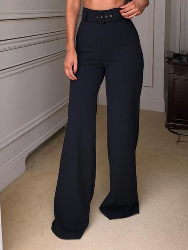 Ericdress Loose Plain Belt Straight High Waist Casual Pants