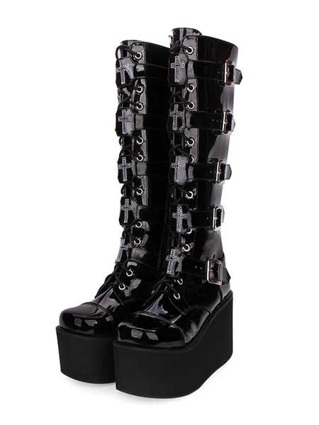 Milanoo Steampunk Lolita Boots PU Leather Patent Round Toe Black Lolita Footwear
