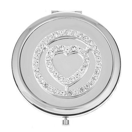 Liz Claiborne Compact Mirror, One Size , Silver
