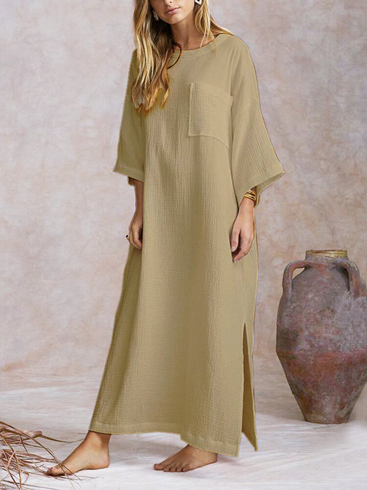 Side Splited Solid Color Long Sleeve Maxi Dress For Women