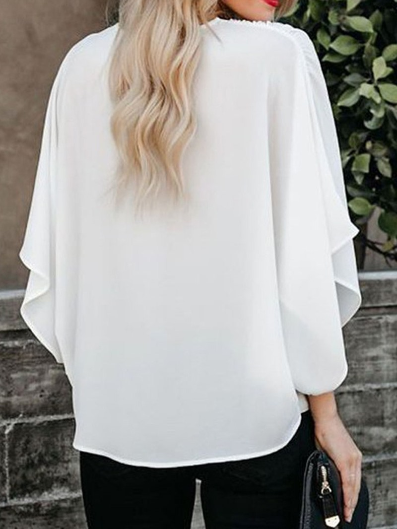 Ericdress Color Block Patchwork Batwing Sleeve Loose Blouse