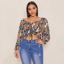 Plus Allover Floral Print Bishop Sleeve Knot Front Top