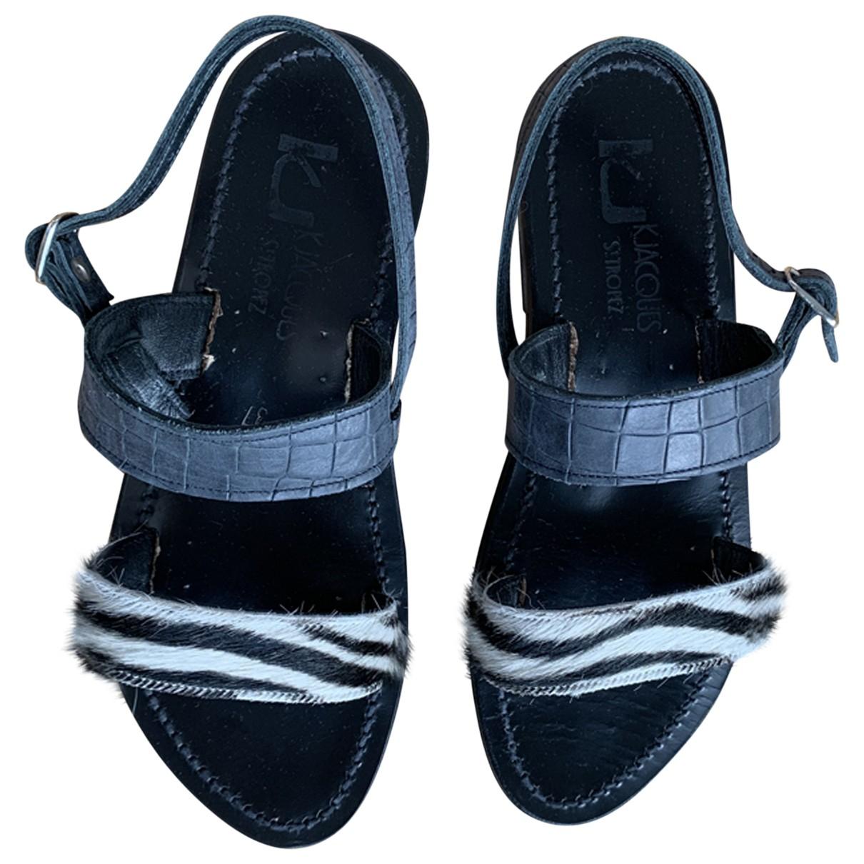 K Jacques Barigoule Black Leather Sandals for Women 37 EU