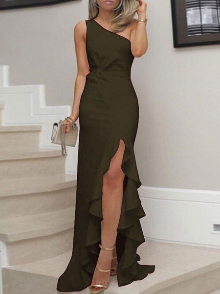 Milanoo White Maxi Dresses Women One Shoulder Sleeveless Ruffle Floor Length Dress