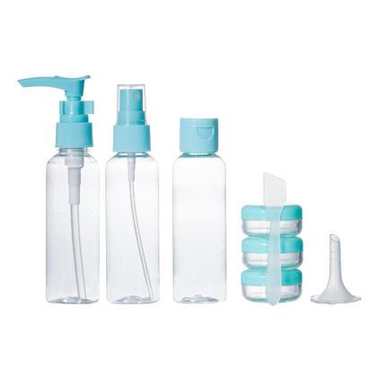 Contenants de toilette voyage taille ensemble de bouteilles, 8pcs - LIVINGbasics™ - Bleu
