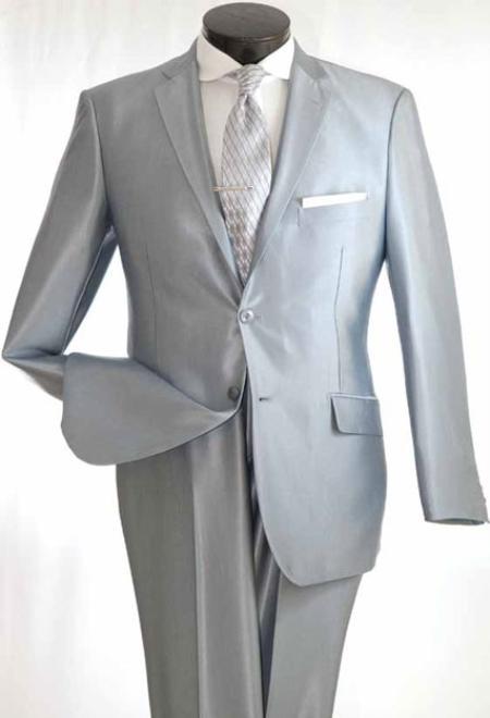 Mens TRUE Slim Suit in Popular Shark Skin Fabric Silver