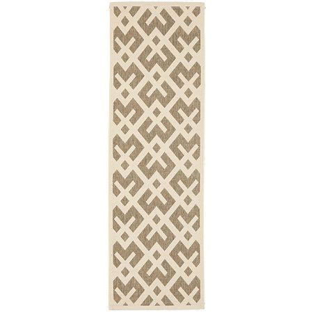 Safavieh Courtyard Collection Darrin Geometric Indoor/Outdoor Runner Rug, One Size , Brown