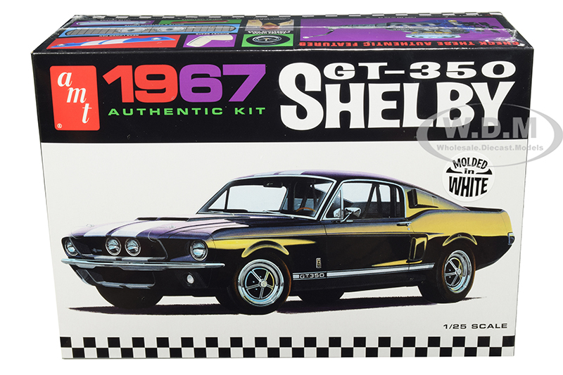 Skill 2 Model Kit 1967 Ford Mustang Shelby GT350 White 1/25 Scale Model by AMT