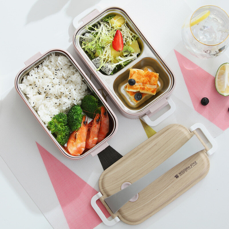 1.6L Nordic Style Bento Box Stainless Steel Lunch Box Portable Leakproof Insulted Preservation Box