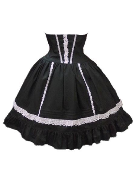 Milanoo Sweet Lolita Skirt SK Cotton Layered Ruffles Two Tone Lolita Skirt