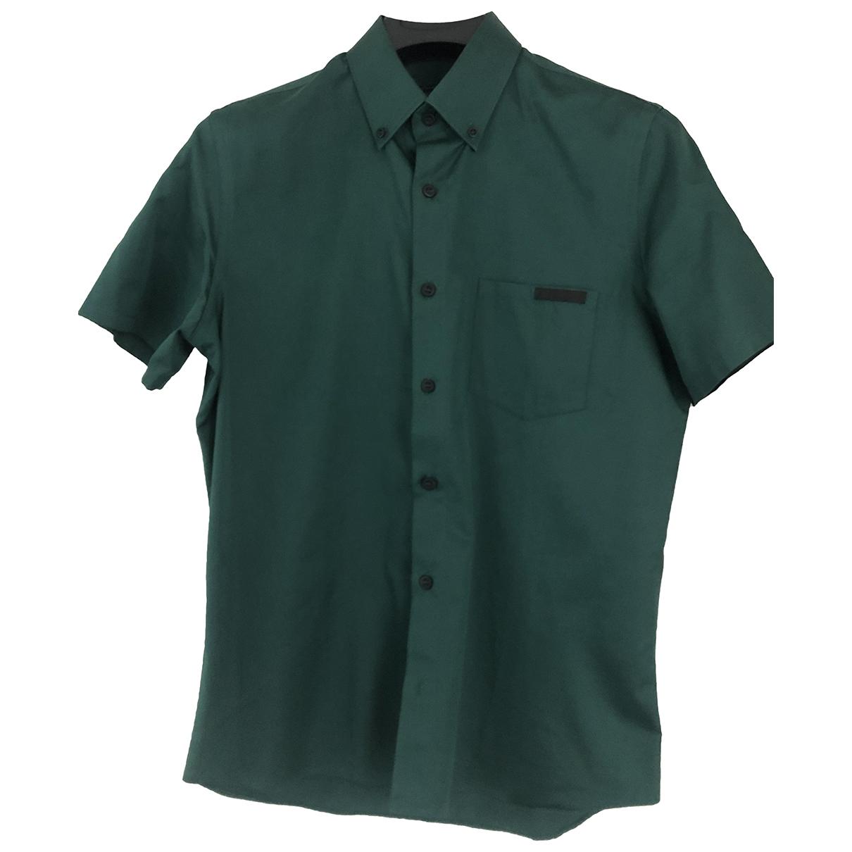 Prada \N Green Cotton Shirts for Men 40 EU (tour de cou / collar)