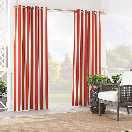 Waverly Solstice Stripe Light-Filtering Grommet-Top Single Curtain Panel, One Size , Red