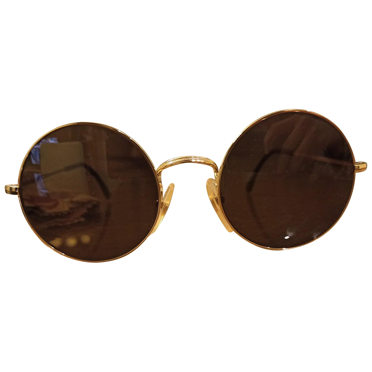 Non Sign?? / Unsigned \N Gold Metal Sunglasses for Women \N