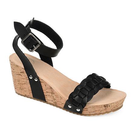 Journee Collection Womens Brynklee Pumps Wedge Heel, 7 Medium, Black