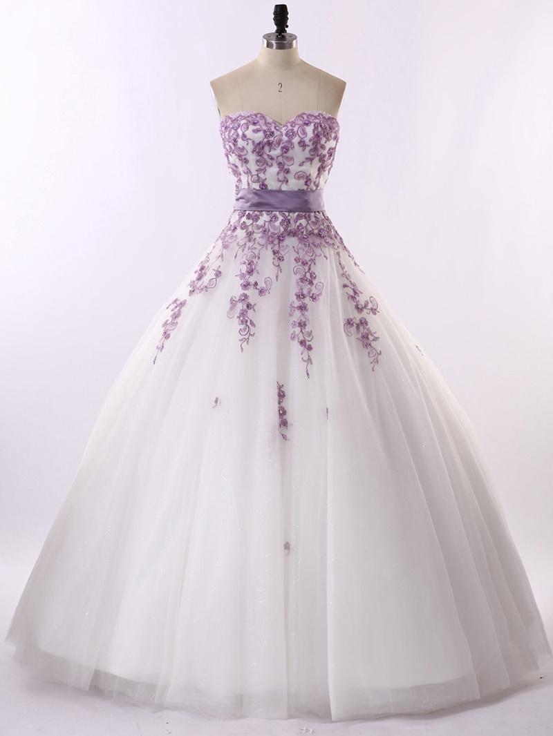 Ericdress Strapless Appliques Ball Gown Wedding Dress