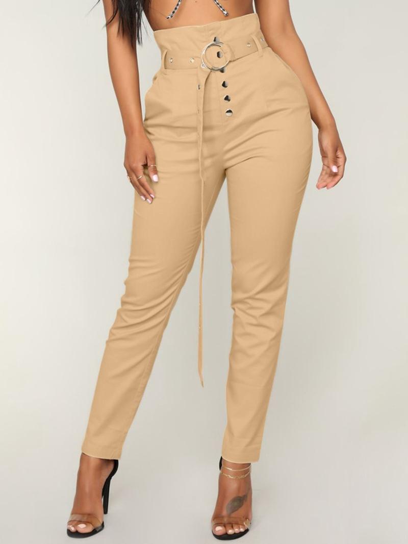 Ericdress Button Belt Slim Women's Pencil Pants