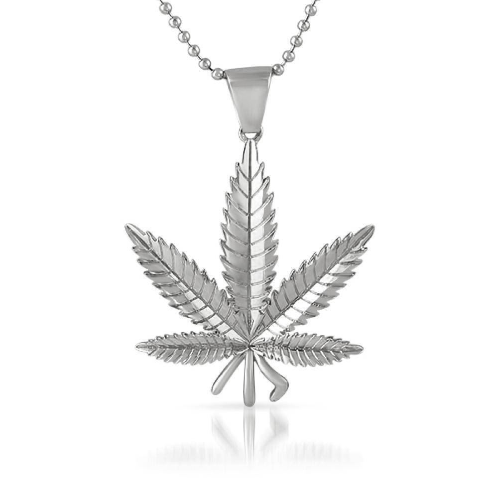 Rhodium Marijuana Pot Leaf Detailed Pendant