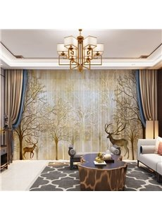 3D Golden Elks and Autumn Forest Printed 2 Panels Custom Sheer