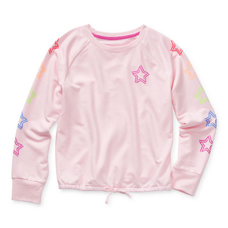 Xersion Little & Big Girls Crew Neck Long Sleeve Sweatshirt, X-small (6-6x) , Pink