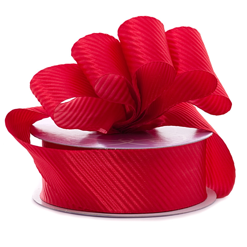 7/8 X 25 Yards Polyester Red Diagonal Embossed Satin Ribbon by Ribbons.com